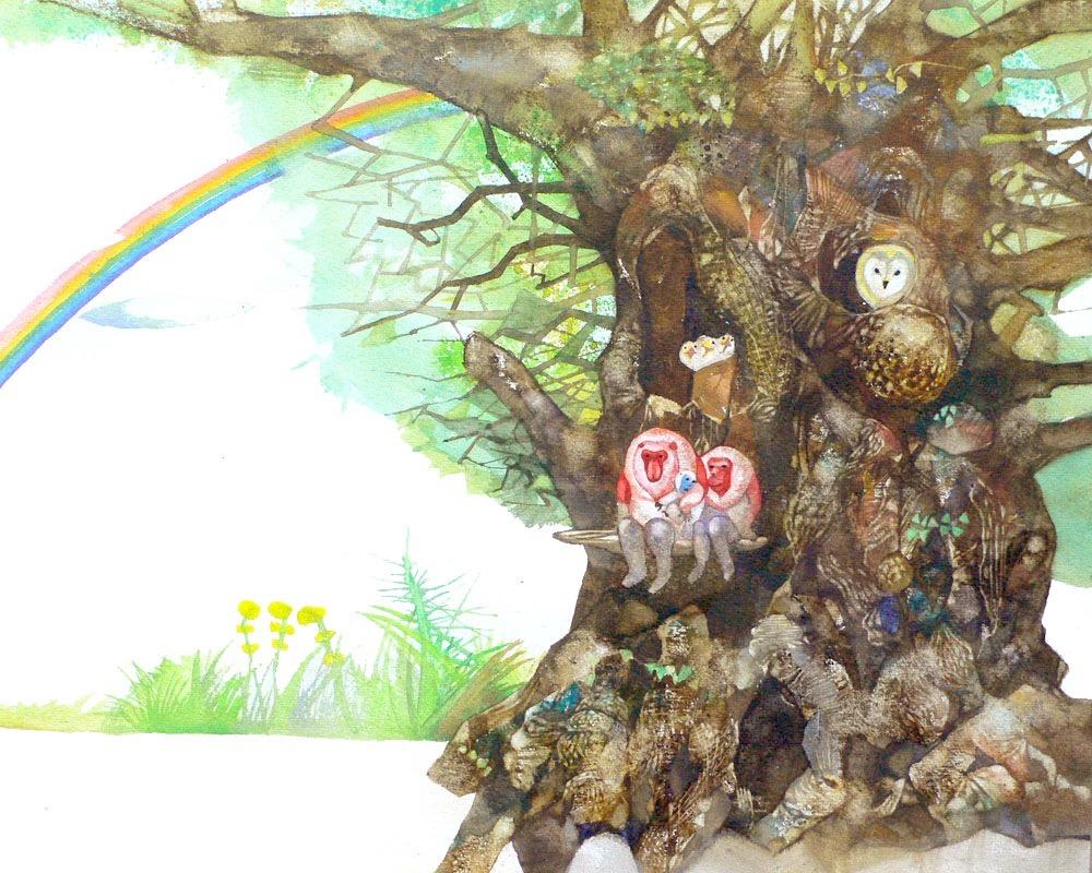 天狗猿と木